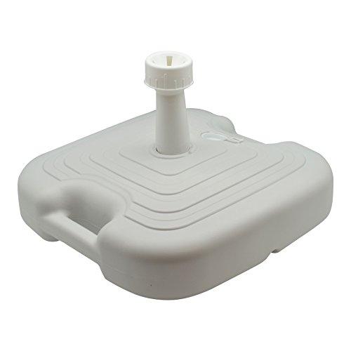 Pied de parasol/auvent - en plastique - blanc - à remplir de sable/eau