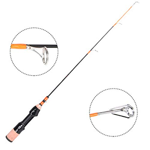 FISH-MAN Outdoor Ice Fishing Rod Mini Size 1.7ft Carbon Ice Fishing Rod Suitable for Sea Water Freshwater Travel Carrying for Father's Day Men's Birthday Gift,Rodonly (Reel Spinning Offshore)