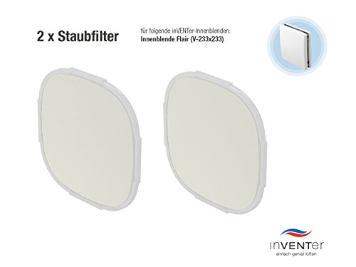 Preisvergleich Produktbild 2 x inVENTer-Staubfilter der Filterklasse G3 zum Einsetzen in Innenblende Flair (V-233x233) | 1004-0142 | Kunststofffaser-Filter zur Verbesserung der Luft- und Lebensqualität