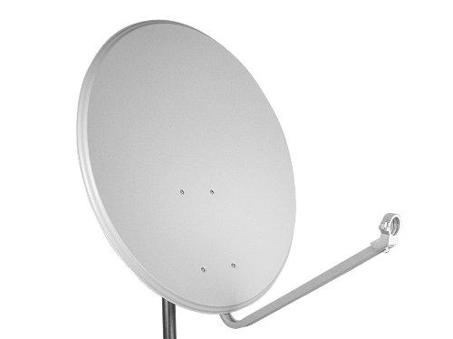 PremiumX Digital SAT Anlage 80 cm Schüssel Spiegel Aluminium Antenne Hellgrau ALU + Opticum Quad LNB 0,1dB für 4 Teilnehmer Satanlage
