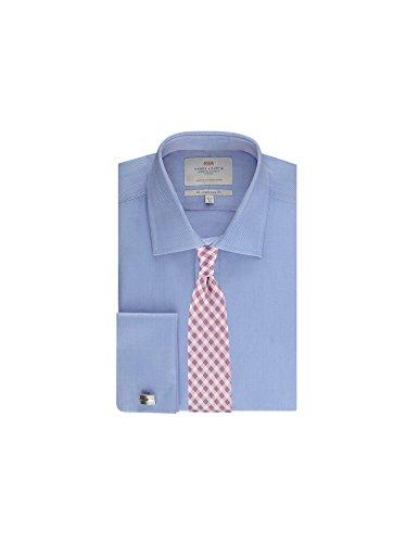 Hawes & Curtis Herren Business Hemd Slim Fit Manschetten Fischgrat blau, Blau, 38cm Kragen, 84cm Ärmel (UK 15-33) (33 Manschette Hemd)