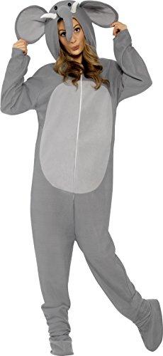 Kostüm Damen Elephant (Smiffys, Unisex Elefanten Kostüm, All-in-One mit Kapuze, Größe: M, 27827)