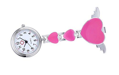 Clip auf fob für Krankenschwester mit Herz Winkelflügel Brosche hängen Quarz Taschenuhr-pink beobachten