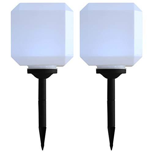 vidaXL 2x Solarleuchte LED Würfel 20cm Weiß Solarlampe Gartenlampe Außenlampe