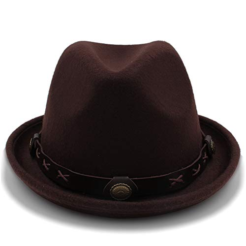 Xuguiping 2018 New Winter Fedora Hat Hombres Mujeres Wool Felt Jazz Hat Vintage Panama Cap (Color : Coffee, Size : 57-58cm)