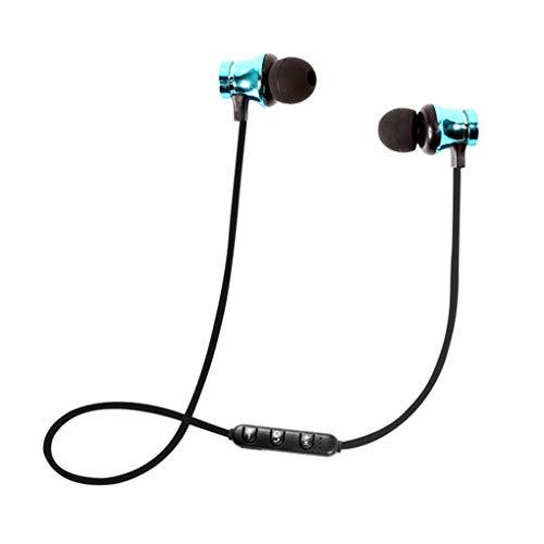 Dorical Bluetooth Kopfhörer, Kabellos Headset, BT 4.1 Stereo Kopfhörer Headset Kabellos Magnetisch Im Ohr Ohrhörer Kopfhörer Sale(Blau,One size)