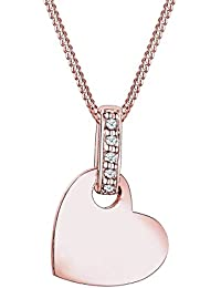 Diamore Women's 925 Sterling Silver Gold Plated Xilion Cut Diamond Heart Necklace of Length 45 cm