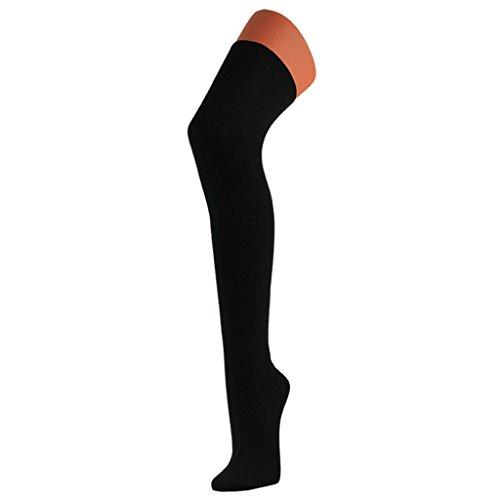 1 Paar Damen Overknee Strümpfe Ringel und uni in trendigen Farben Nr. WO2721, Farbe:schwarz;Größe:One Size (35-38 bis 39-42)