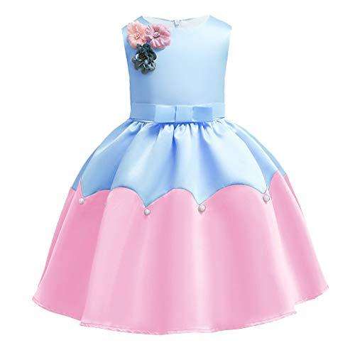 (Pwtchenty Kleid Sommer Damen Bekleidung Baby Mädchen Prinzessin Kleider Festzug Ärmellos Drucken Dresser Blume Perle Overall Rock Tutu Kleider Outfits Set)