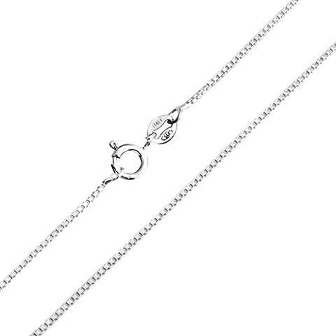 Bling Jewelry 925 Sterling Silver Unisex Box collana della catena a maglia 019 Gauge