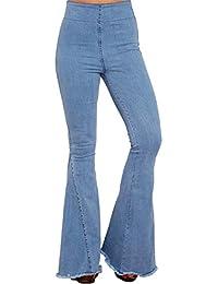 Aleumdr Mujer Pantalones Acampanados Vaqueros Cintura Alta Jeans de Mujer  Size S-XXL 7d1535923d6