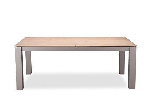Meubletmoi Grande Table Repas Taupe et décor chêne Extensible 260 cm - 8/10personnes - Qualité Excellence - Design Contemporain - Omega