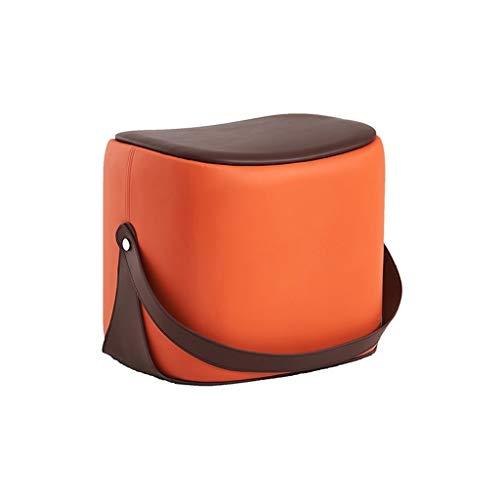 Bronze-leder-stuhl (SYFO Tragbarer Sofahocker Leder Bronze Kleiner Hocker - Mit Griff (Mehrfarbig Optional) Hocker (Color : Orange))