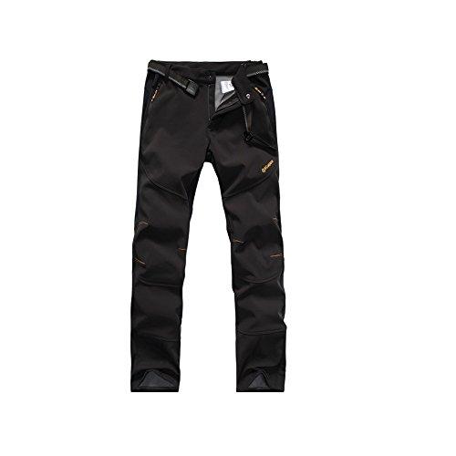 Tofern Homme Pantalon Fonctionnel Imperméable Respirant Softshell Hiver Elastique Ultra Thermique Montagne Camping Randonnée Ski Coupe-Vent TPU Toison, Noir Euro M(Label XL)
