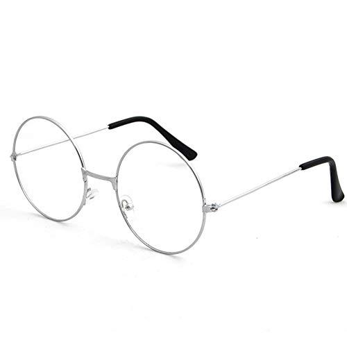 Man9Han1Qxi Retro Style Vintage Frauen Männer Runde Kreis Metall Brillen Optische Gläser Brillengestell Silver