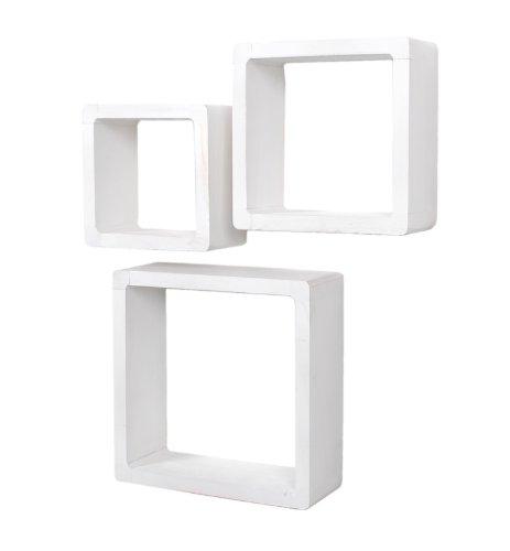 Lot de 3 étagères cubiques Lounge Cube style maison de campagne étagère murale étagère en bois massif blanc style usé