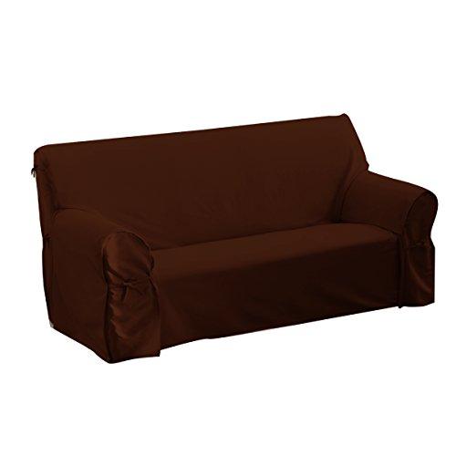 Housse de Canapé à Nouettes 2 ou 3 Places, 80% Coton Lavable, Chocolat, Largeur adaptable jusqu'à 205 cm maximum AMHCAN