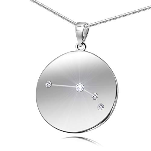 berkette Echt Silber Original Swarovski Elements Sternzeichen-Anhänger Widder Längen-verstellbar Geschenkverpackung Geschenk für Freundin ()