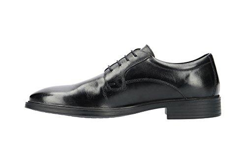 Geox U824WA Gladwin Eleganter Herren Business Schuh Aus Leder, Anzugschuh, Schnürhalbschuh, Derbyschnürung, Gummisohle, Atmungsaktiv Black