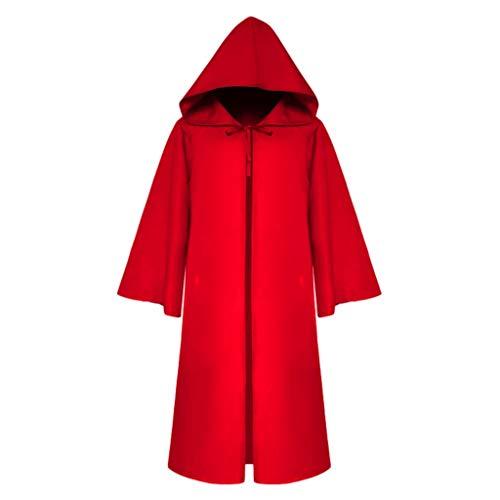 Selbstgemacht Kostüm Teufel - Lazzboy Halloween Karneval Party Männer Vintage Gothic Solid Hooded Bandage Mantel Cosplay Outwear Erwachsene Tod Umhang,Teufel Kostüm Samt Cape(Rot,M)