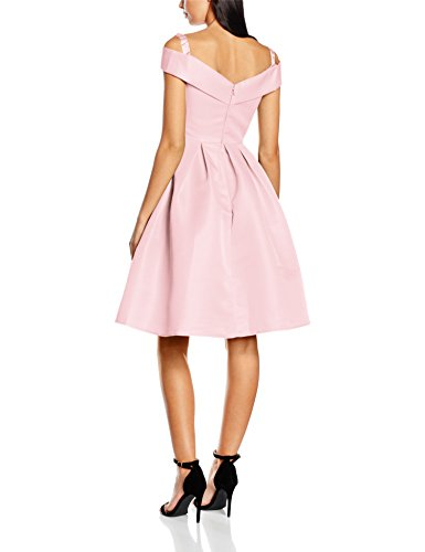 Chi Chi London Fold-Over Bardot Midi, Robe Femme Rose (Pink)