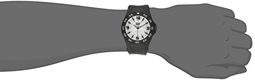 Cat Men's Quartz Watch with White Dial Analogue Display and Black Rubber Strap LB.111.21.231