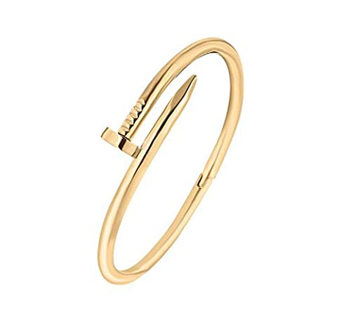Stainless Steel Nail Style Love Gold Plated Bangle Bracelet Oval High Polish , Fits 7.5inch Wrists