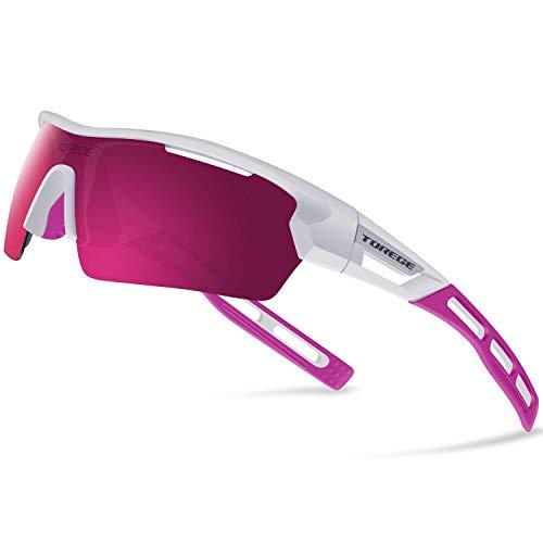 James Fashion polarisierte Sportsonnenbrille für Herren und Damen, für Radfahren, Laufen, Fahren, TR033 Gr. Einheitsgröße, White&pink Tips&pink Lens