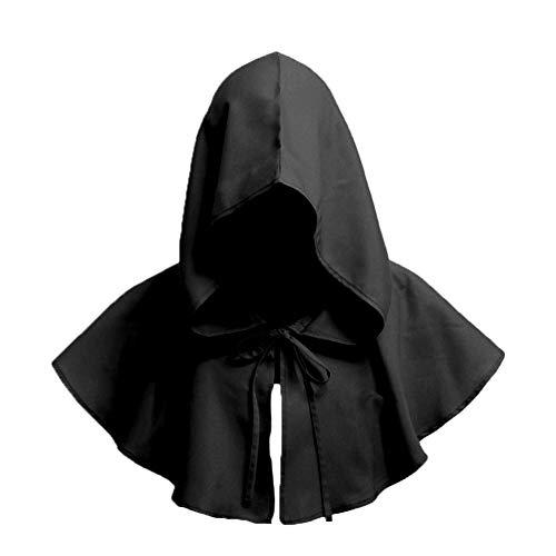 Jungen Kostüm Mittelalterliche - Naisidier Unisex Jahrgang Gugel Halloween-Kostüm Zubehör Halloween Cosplay mit Kapuze Cape Zubehör Mittelalterliche Retro-Haube für Partei 1pc Schwarz