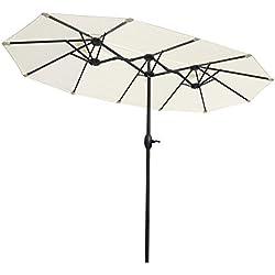 Sekey® 3m x 1,8m Aluminium Parasol avec Deux Hauts pour Patio Jardin Balcon Piscine Plage Sunscreen UV50+ Crème
