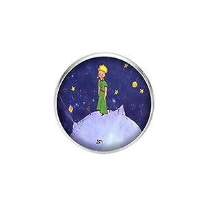 Edelstahl Brosche, Durchmesser 25mm, Stift 0,7mm, handgemachte Illustration Der kleine Prinz