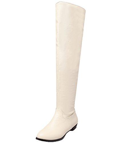 BIGTREE Knie Hohe Stiefel Damen Bequem Elegant Flach Winter Langschaft Stiefel Beige 40 EU (Damen Knie Stiefel Hohe)