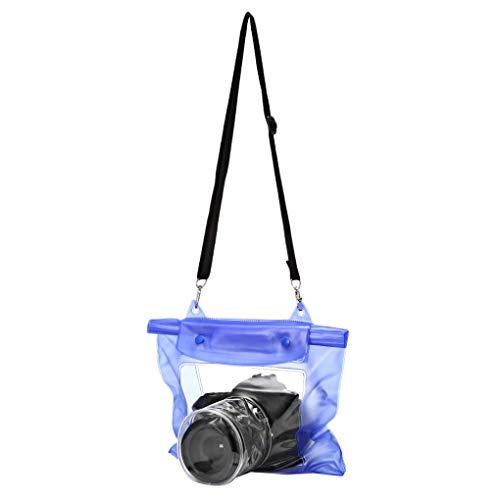 Wasserdichte Kameratasche DSLR SLR Kamera Unterwasserlagerung Dry Bag transparenter PVC-Beutel Blau 32 * 27cm ()