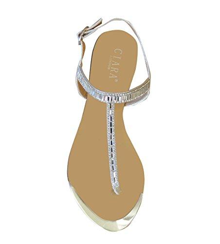 Ciara Sandales pour femme à talon plat Beige - Champagne