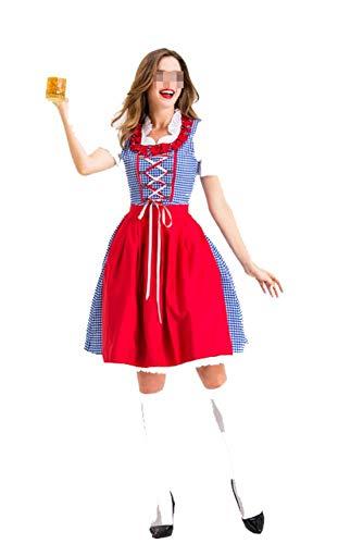 Deutsches Kostüm Bier Festival - S-XXL Frauen Oktoberfest Traditionelle Dirndl Kostüm Bier Festival Mädchen Kostüm Deutsch Wench Maid Party Kostüm,Red,XL