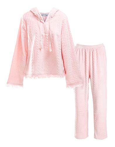 Matt Viggo Damen Zweiteiliger Fleece Schlafanzug Winter Warm Hausanzug Nachtwäsche Lang Pyjama Langarm V-Ausschnitt Top mit Kapuze und Hose, Rosa, S - Fleece Pyjama-hosen