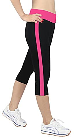 iLoveSIA Women's Tights Capri YOGA Running Pants Leggings Black+Rose L