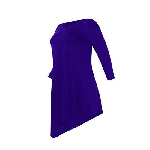 DOLDOA Femmes Chemise à manches longues Col rond Loisirs Irrégulier Chemise Bleu