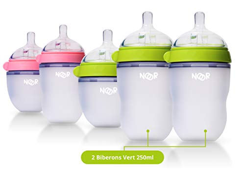 Noor Biberons en Silicone Naturel Vert, 250ml, de 0 Mois à 18 Mois +, Pack de 2