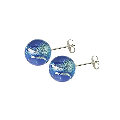 Bellissimo Sapphire Blue Silver Sparkler Murano Glass Silver Tone Stud Pierced Earrings With Gift