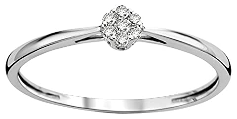 Diamada Femme or blanc en diamant fiançailles bague 9kt (375) brillant 0.06cts