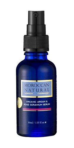 Organic de Moroccan Natural Huile d'Argan & Serum pour le visage a la rose 30ml