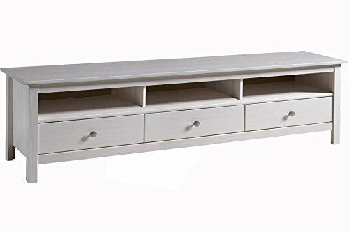 Mueble TV Betty 3 Cajones, madera maciza, color blanco capado