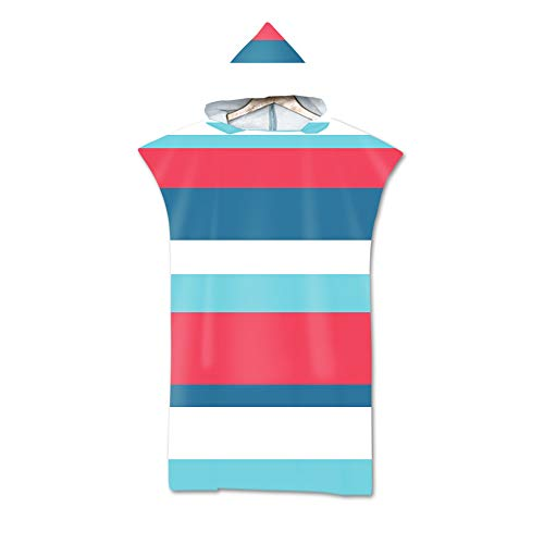 Stillshine. Männer Damen 3D Poncho Strandtücher Kaputzen Strand Bade Bademantel Schwimmen Surfen Sport Kapuzenhandtuch Badetuch Duschtücher Handtücher (Regenbogen-Streifen)