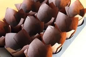 Muffin-/Cupcake-Förmchen in Tulpenform, 100 Stück, Braun