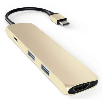 Satechi Schlanker Typ C Multiport-Adapter mit USB-C Ladeanschluss, 4K HDMI, USB 3.0 aus Aluminium für 2016/2017 MacBook Pro und 2015/2016/2017 MacBook (Gold) Gold-hdmi-adapter
