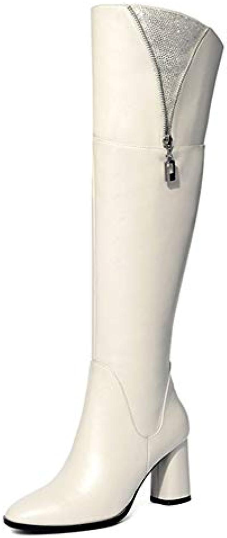 cy Dames sur Chevalier Les Bottes Au Genou Chevalier sur Bottes Bout Rond épais Chaussures en Cuir Véritable Décoration Strass...B07K9PR4B3Parent d1af1c