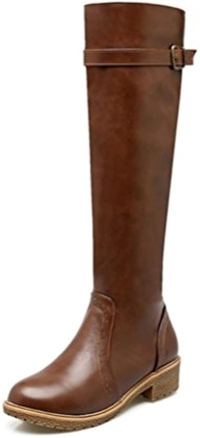 bbf0697154e QPYC Ladies Boots Large Size Size Size Round Head Low-Heeled Knight Boots  Thick Bottom Flat With High Boots Autumn And Winter... B0776CN46M Parent  26eed9