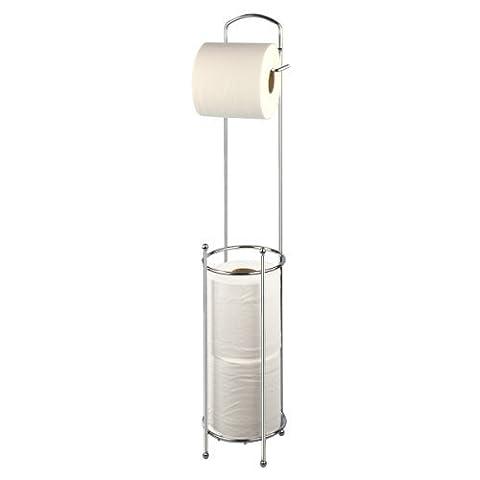 New Free Standing Toilet Roll Holder Chrome Paper Tissue Storage Dispenser Stand Shopmonk by zizzi