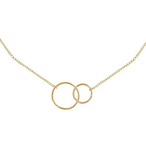 Schmuck Les Poulettes - Vergoldet Halskette Zwei Kreise - Kleines Modell